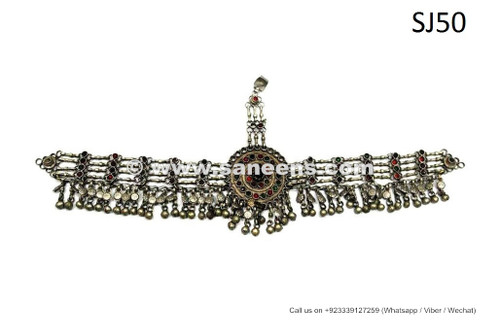 afghan kuchi tribal headdress with small stones