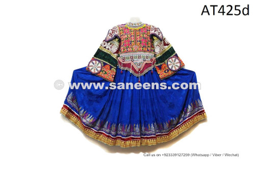 afghan vintage dress in blue color