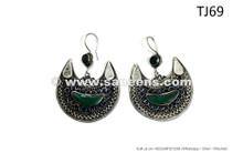Traditional Turkmen Tribal Earrings Pair Belly Dance Fancy Jewelry Dangles