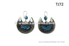 Buy Turkmen Tribal Style Earrings In German Silver Egyptian Belly Dance Dangles
