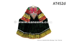 Formal Afghan Women Dress In Glowing Green Color Tribal Ethnic Coin Frock