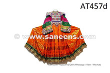 Afghan Fashion Vintage Frock In Orange Color Tribal Ethnic Costume With Beads Work