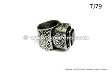Tribal Fusion Ring In Black Stone Oriental Bellydance Wholesale Jewelry Rings