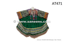 Shop Online Afghanistan Nomad Dress Kuchi Tribal Art Coin Frock In Green Color