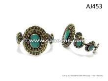 Afghan Kuchi Women Bangles Gypsy Tribal Style Bracelets With Inlaid Turquoise