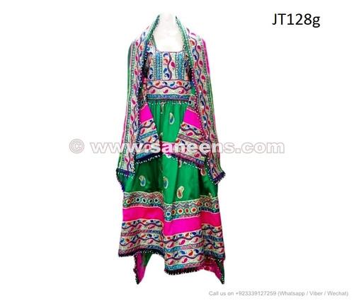 green color afghan fashion dress