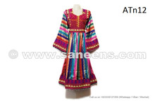 Tribal Art Work Rainbow Frock Kuchi Fashion Multicolor Wedding Dress