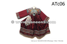 Afghanistan Women Ethnic Frock Tribal Coin Work Costume In Maroon Color