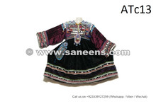 Tribal Fashion Vintage Attire Kuchi Women Tassels Dress In Black Color