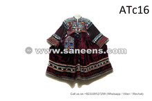Vintage Fashion Afghan Nomad Dress Kuchi Ethnic Frock In Maroon Velvet Fabric