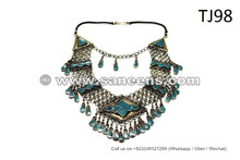 Kuchi Tribal Necklace Afghan Fashion Large Choker Bellydance Jewelry In Turquoise