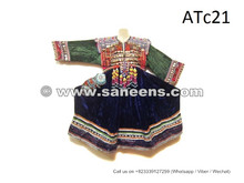 Ancient Afghanistan Kuchi Style Frock Balochi Attire With Coins Patch Tassels