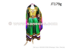 afghan dress in green color with yakhan work embroidery