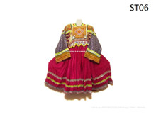 Afghan VIntage Dress Handmade Tribal Frock Silk And Beads Work Kuchi Apparel