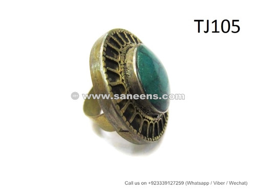 afghan jewelry ring with hussaini feroza