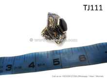 afghan muslim rings with black stone