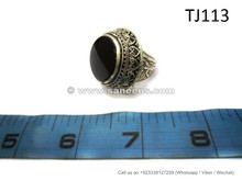 afghan ring with black precious stone