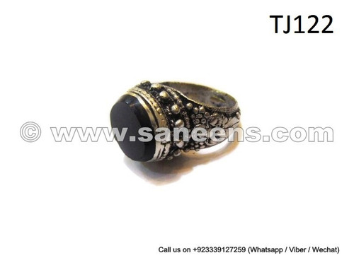 afghan rings with precious black stone