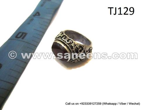afghan muslim ring with agate gemstone
