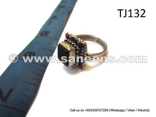 afghan muslim ring with black stone