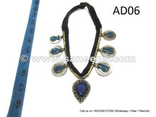 afghan kuchi tribal necklace with lapis and turquoise stones