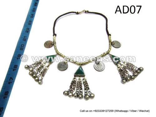 afghan kuchi tribal necklace with green agate stones