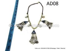 Tribal Nomad Artwork Necklace With Lapis Stones Hippie Fashion Handmade Choker