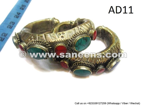 afghan kuchi handmade tribal bangles with coral and turquoise stones