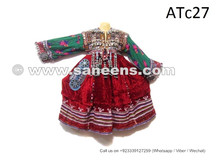 balochi tribal long frock with coins and beads work