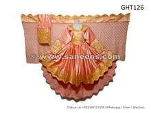 afghan fashion dress in peach color high low design