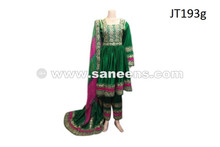afghan muslim dress in green color