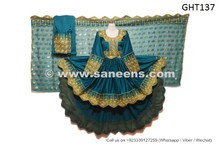 afghan dress in sea green color