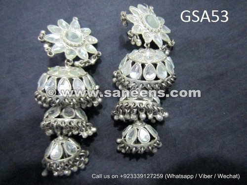 silver art afghan earrings