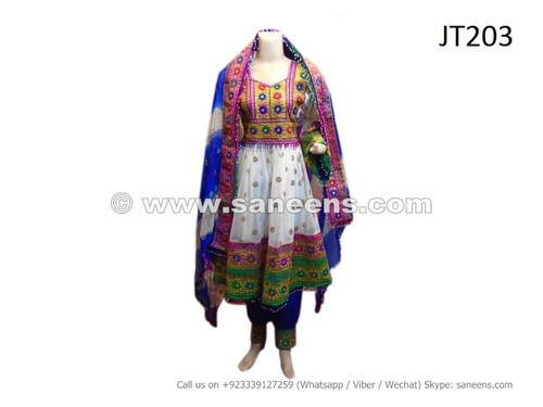 afghan dress in white color