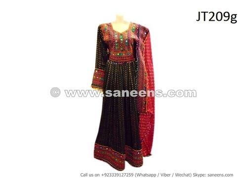 afghan dress gown in black color