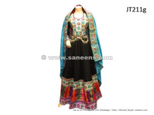 afghan dress long gown in black color