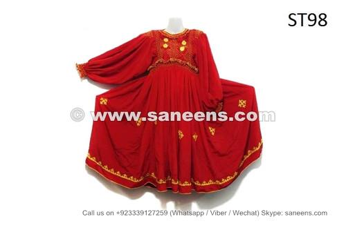 afghan kuchi vintage dress in red color