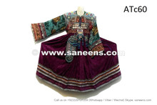 afghan kuchi ethnic dress in purple color