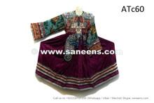 afghan kuchi ethnic dress in purple color