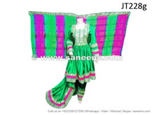 afghan wedding clohtes dress in green color