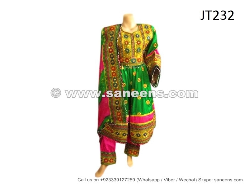 Afghan Muslim Women Formal Dress New Design Pashtun Green Frock