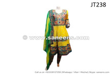 afghan muslim ladies yellow color wedding dress frock