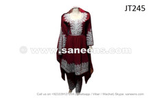 afghan muslim ladies dress in burgundy color