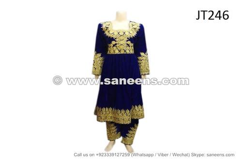 afghan dress in blue velvet
