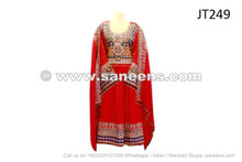 afghan muslim bridal clothes dress in red color