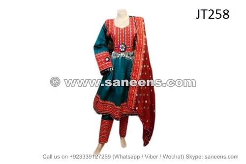 afghan dress in teal color