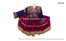 afghan coins ethnic dress in purple color