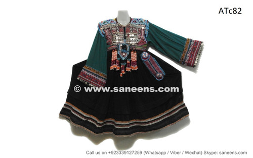 afghan kuchi coins work frocks dress in dark green velvet