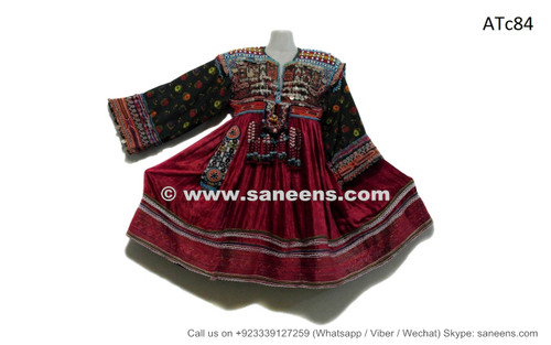 afghan kuchi tribal handmade clothes dress with lot of beads coins work