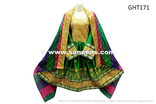 afghan kuchi pashtun bridal clothes in green color